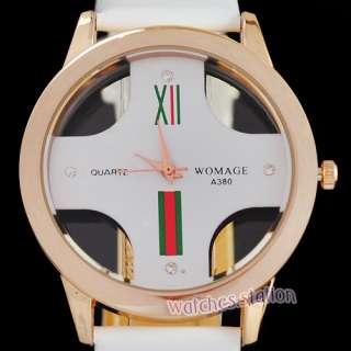 Case Designer Mens Quartz Wrist Watch Crystal Sports PU Leather NEW