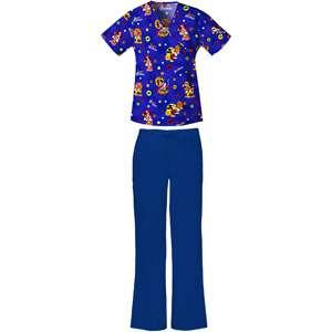 Halloween Print Mock Wrap Top and Electric Blue Flare Leg Scrub Pant