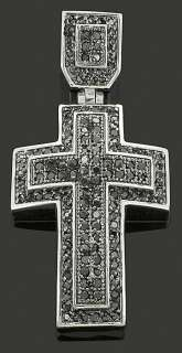 Fake Black Diamonds Iced Out Cross Pendant Charm Chain
