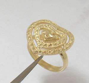 Technibond Diamond Cut Heart Ring 14K Gold Silver S 6.5