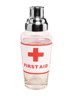 First Aid Art Glass Martini Cocktail Shaker, CS SHA475