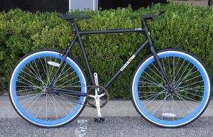 Fixed Gear Bike Fixie Bike Road Bicycle 58cm Black w Deep 43mm Blue