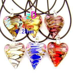 6pcs Mixed heart Love Beads Lampwork Glass Pendant necklace