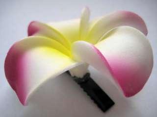 Hawaii Bridal Wedding Party Flower Hair Clip White Purple Plumeria