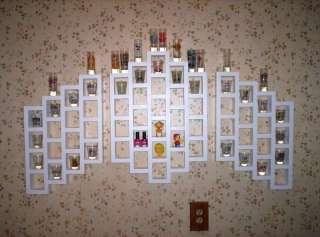 69 SHOT GLASS WALL DISPLAY CASE 3PC WOOD SHELF SATIN WHITE NEW SHELVES