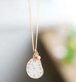Cute Crystal Bead White Watch Gold Tone Necklace Pendant N276