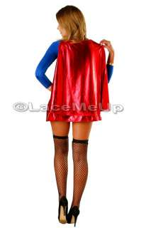 Halloween Super Woman Hero supergirl Costume Fancy Dress Ladies size 6