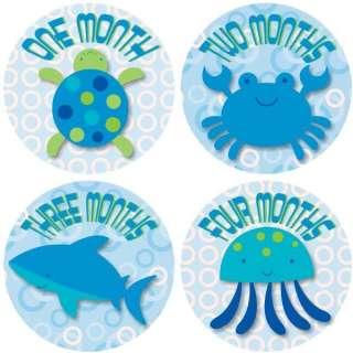 Monthly Onesie Baby Boy Stickers Blue Ocean Sea Animals