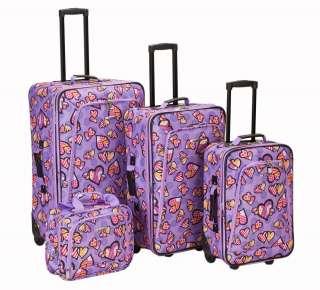ROLLING LUGGAGE 4 PIECE TRAVEL SET LOVE PRINT PINK PURPLE GIRLS WOMENS