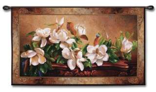 FLORAL FRESH MAGNOLIA FLOWERS ART TAPESTRY WALL HANGING