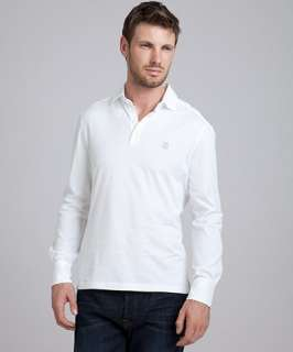 Brunello Cucinelli white cotton long sleeve polo shirt