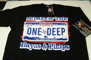 The Playas & Pimps Black Shirt Large Screen Printed One Deep Texas Rap