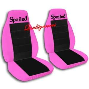 2 Hot pink and black Spoiled car seat covers for a 2002