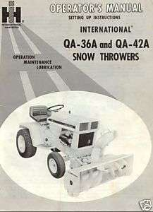 IH Cub Cadet Snow Thrower QA 36A QA 42A Operator Manual