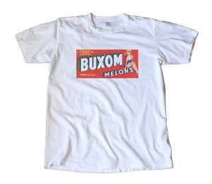 Vintage Buxom Melons Crate Label T Shirt   Pin Up Girl