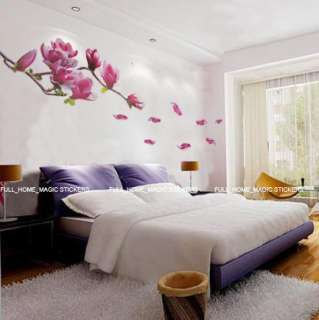 Large Magnolia Flowers & Tree Wall Stickers Mural Art Decals