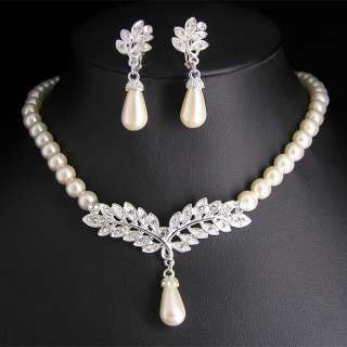 Wedding Bridal pearl &crystal necklace earring set S301