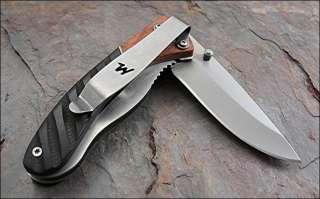 Winchester Linerlock Grooved Dark Brown & Light Brown Wood Handles