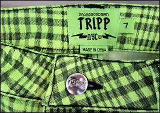 Green Plaid SKINNY JEANS Pants GOTH SKULLS Zippers Daanggoodman